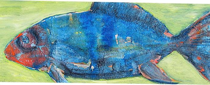 Collage : Blauer Fisch