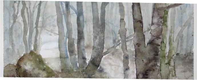 Nebelstimmung im Wald Aquarell