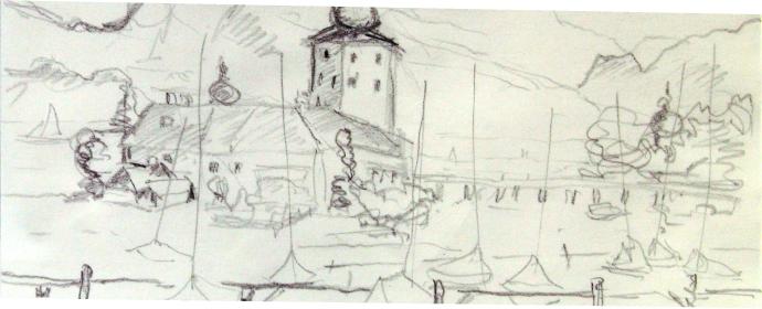 Bleistiftzeichnung Schloss Ort 2009